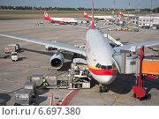 Самолет китайской авиакомпании Hainan Airlines стоит на разгрузке в аэропорту Berlin - Tegel, Германия (2014 год). Редакционное фото, фотограф Sofya Demskaya / Фотобанк Лори
