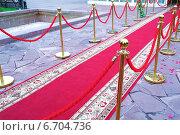 Купить «Красная ковровая дорожка», эксклюзивное фото № 6704736, снято 25 октября 2014 г. (c) Blekcat / Фотобанк Лори