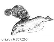 Купить «Кошка пытается украсть сёмгу - The cat trying to steal salmon», иллюстрация № 6707260 (c) Марина Ефремова / Фотобанк Лори