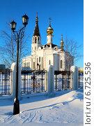 Купить «Свято-Никольский православный храм зимой, Губкинский, ЯНАО», эксклюзивное фото № 6725536, снято 6 ноября 2014 г. (c) Артём Крылов / Фотобанк Лори