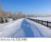 Заснеженная набережная городского парка, фото № 6726940, снято 10 января 2004 г. (c) Евгений Ткачёв / Фотобанк Лори
