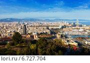 Купить «Barcelona with Port from Montjuic hill», фото № 6727704, снято 5 апреля 2014 г. (c) Яков Филимонов / Фотобанк Лори