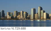 Купить «Вид на небоскребы г. Шарджа, ОАЭ с лагуны», фото № 6729688, снято 21 октября 2014 г. (c) SevenOne / Фотобанк Лори