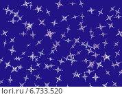 Орнамент из снежинок на синем фоне. Стоковая иллюстрация, иллюстратор Анастасия Козлова / Фотобанк Лори