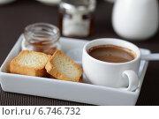 Купить «Завтрак: кофе с молоком и тосты с медом», фото № 6746732, снято 1 июня 2013 г. (c) Елена Корнеева / Фотобанк Лори
