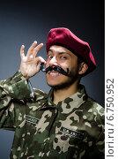 Купить «Funny soldier in military concept», фото № 6750952, снято 26 апреля 2014 г. (c) Elnur / Фотобанк Лори