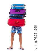 Купить «Man travelling with suitcases isolated on white», фото № 6751568, снято 8 ноября 2013 г. (c) Elnur / Фотобанк Лори