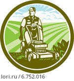 Купить «Круглый значок с косильщиком лужаек», иллюстрация № 6752016 (c) Aloysius Patrimonio / Фотобанк Лори