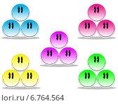 Разноцветные смайлики. Стоковая иллюстрация, иллюстратор Светлана Шаповалова / Фотобанк Лори