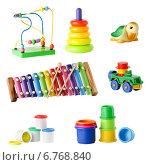 Купить «Коллекция игрушек для детей младшего возраста, изолированно на белом фоне», фото № 6768840, снято 16 ноября 2018 г. (c) Йомка / Фотобанк Лори