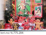 Купить «Витрина магазина, украшенная к Рождеству», фото № 6775284, снято 20 декабря 2013 г. (c) SummeRain / Фотобанк Лори
