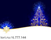Купить «Стилизованная узорчатая ёлка с синими огоньками», эксклюзивная иллюстрация № 6777144 (c) Александр Павлов / Фотобанк Лори