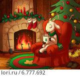 Козочка у камина встречает Новый год. Стоковая иллюстрация, иллюстратор Татьяна Харитонова / Фотобанк Лори