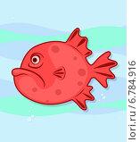 Красная рыба в морских волнах. Стоковая иллюстрация, иллюстратор Ирина Балина / Фотобанк Лори