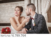Влюбленная пара в ресторане. Стоковое фото, фотограф Loboda Dmitriy / Фотобанк Лори