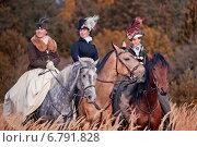 Купить «Костюмированная конно-псовая охота. Реконструкция Першинской Охоты», фото № 6791828, снято 4 октября 2014 г. (c) Julia Shepeleva / Фотобанк Лори