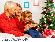 Купить «Счастливая девочка получила новогодний подарок от родственников», фото № 6797040, снято 29 ноября 2014 г. (c) Сергей Новиков / Фотобанк Лори