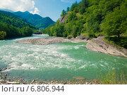 Купить «Летний пейзаж, река Белая», фото № 6806944, снято 21 ноября 2018 г. (c) Елена Корнеева / Фотобанк Лори
