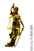 Купить «Фемида золотая с весами и мечом на белом фоне», эксклюзивная иллюстрация № 6809084 (c) Александр Павлов / Фотобанк Лори
