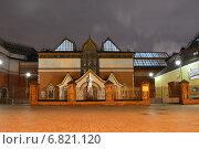 Памятник Третьякову в Лаврушинском переулке у Третьяковской галереи в Москве ночью, эксклюзивное фото № 6821120, снято 20 декабря 2014 г. (c) lana1501 / Фотобанк Лори