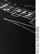 Купить «Музыкальные ноты написанные на доске», фото № 6824260, снято 11 ноября 2014 г. (c) Сергей Лабутин / Фотобанк Лори