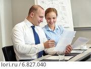 Купить «business people with papers meeting in office», фото № 6827040, снято 25 октября 2014 г. (c) Syda Productions / Фотобанк Лори
