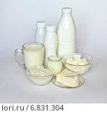 Купить «Молочные продукты: творог, кефир, молоко и молодой сыр на белом фоне», фото № 6831304, снято 23 декабря 2014 г. (c) Виктория Катьянова / Фотобанк Лори
