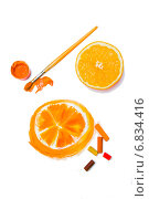 Апельсин настоящий и нарисованный. Стоковое фото, фотограф Анастасия Козлова / Фотобанк Лори