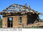 Строительство дома из глиночурки (2012 год). Редакционное фото, фотограф Синицын Юрий Альбертович / Фотобанк Лори