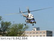 Первые московские вертолетные гонки, Клин. Вертолет Ми-2 (бортовой RF-01238) на развозке грузов (2013 год). Редакционное фото, фотограф Alexei Tavix / Фотобанк Лори