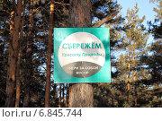 Купить «Табличка-напоминание об уборке за собой мусора в лесу», фото № 6845744, снято 28 декабря 2014 г. (c) Виталий Матонин / Фотобанк Лори