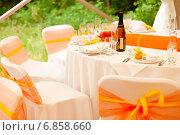 Сервированный стол для свадебного банкета на природе. Стоковое фото, фотограф Mariya L / Фотобанк Лори