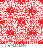 Купить «Красно-белая узорчатая бесшовная текстура с сердцами», иллюстрация № 6862616 (c) Николай Забурдаев / Фотобанк Лори