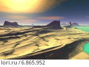 Купить «Чужая планета. Скалы и озеро», иллюстрация № 6865952 (c) Parmenov Pavel / Фотобанк Лори