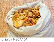 Купить «Матерчатый мешок с сушёными яблоками», эксклюзивное фото № 6867104, снято 6 января 2015 г. (c) Константин Косов / Фотобанк Лори