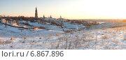 Свято-Иоанно-Богословский монастырь морозным рождественским утром. Панорама. Стоковое фото, фотограф Борис Горбатенко / Фотобанк Лори