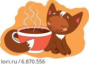 Котёнок коричневый. Стоковая иллюстрация, иллюстратор Павлова Елена / Фотобанк Лори