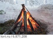Купить «Костёр на зимней лесной опушке», фото № 6871208, снято 8 января 2015 г. (c) Алексей Маринченко / Фотобанк Лори