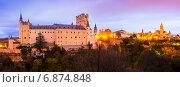 Купить «twilight panorama of Segovia», фото № 6874848, снято 22 мая 2019 г. (c) Яков Филимонов / Фотобанк Лори