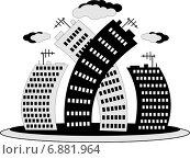 Стилизованные небоскребы на белом фоне. Стоковая иллюстрация, иллюстратор Dmitry Polnikov / Фотобанк Лори