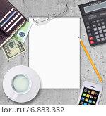 Купить «Бизнес-натюрморт с чистым блокнотом, чашкой кофе и офисными принадлежностями», иллюстрация № 6883332 (c) Кирилл Черезов / Фотобанк Лори