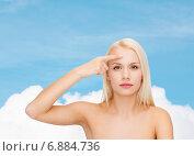 Купить «beautiful woman touching her forehead», фото № 6884736, снято 15 апреля 2014 г. (c) Syda Productions / Фотобанк Лори