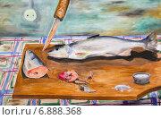 Купить «Картина. Мороженная рыба на разделочной доске», иллюстрация № 6888368 (c) Олег Хархан / Фотобанк Лори