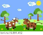 Коровы, пасущиеся на зеленом солнечном лугу. Стоковая иллюстрация, иллюстратор Бережная Татьяна / Фотобанк Лори