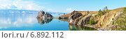 Купить «Байкал. Остров Ольхон летом. Панорамный вид на мыс Бурхан и Малое Море», фото № 6892112, снято 19 июня 2014 г. (c) Виктория Катьянова / Фотобанк Лори
