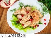 Купить «Жареная курица с зернами граната и зеленью», фото № 6895048, снято 14 января 2015 г. (c) Peredniankina / Фотобанк Лори