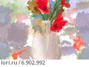 Маки. Цифровая акварель. Стоковая иллюстрация, иллюстратор Катерина Фадеева / Фотобанк Лори