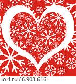 Сердце и снежинки. Стоковая иллюстрация, иллюстратор Микрюкова Елена / Фотобанк Лори