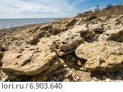 Купить «Глыбы ракушечника на берегу Азовского моря», фото № 6903640, снято 20 апреля 2014 г. (c) Борис Панасюк / Фотобанк Лори