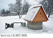 Купить «Колодец во дворе деревенского дома под снегом зимним пасмурным днем», фото № 6907908, снято 11 января 2015 г. (c) Александр Замараев / Фотобанк Лори